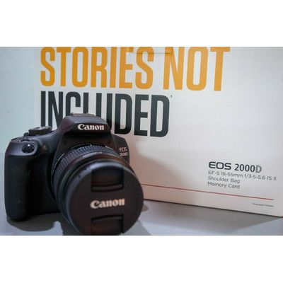 Canon EOS 2000D EFS 18-55 mm IS II DSLR Cameras-16GB SDHC-Canon Case- Brand New